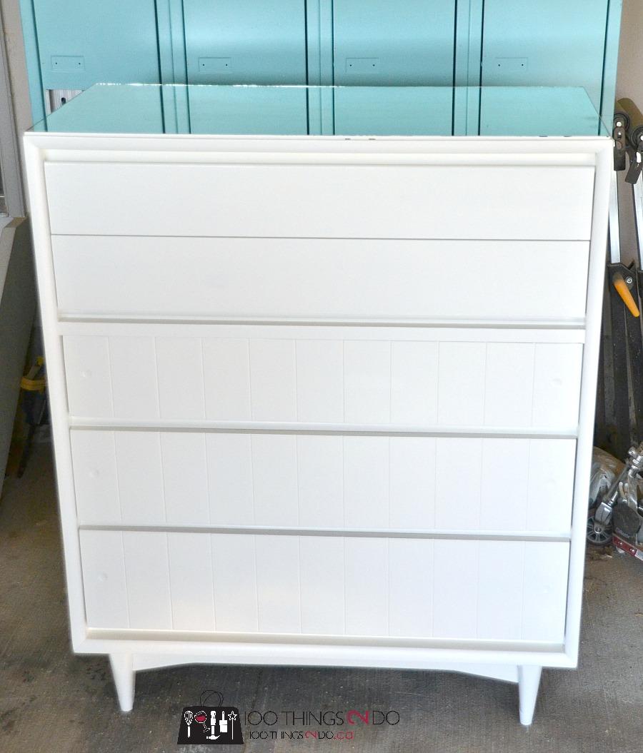 Refinished dresser, dresser makeover, trashure, white dresser, curb-find dresser, painted dresser