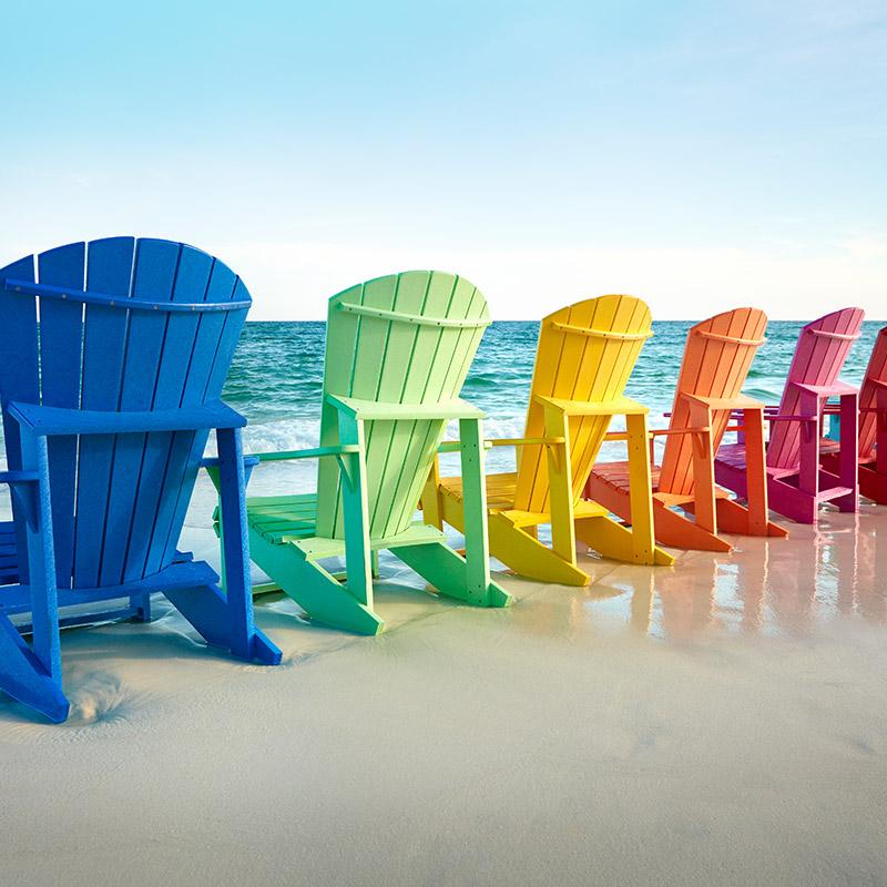 Adirondack chairs, Muskoka chairs, composite furniture, upcycled furniture, patio furniture, recycled patio furniture, C.R. Plastic Products, CRP Products, recycled plastics