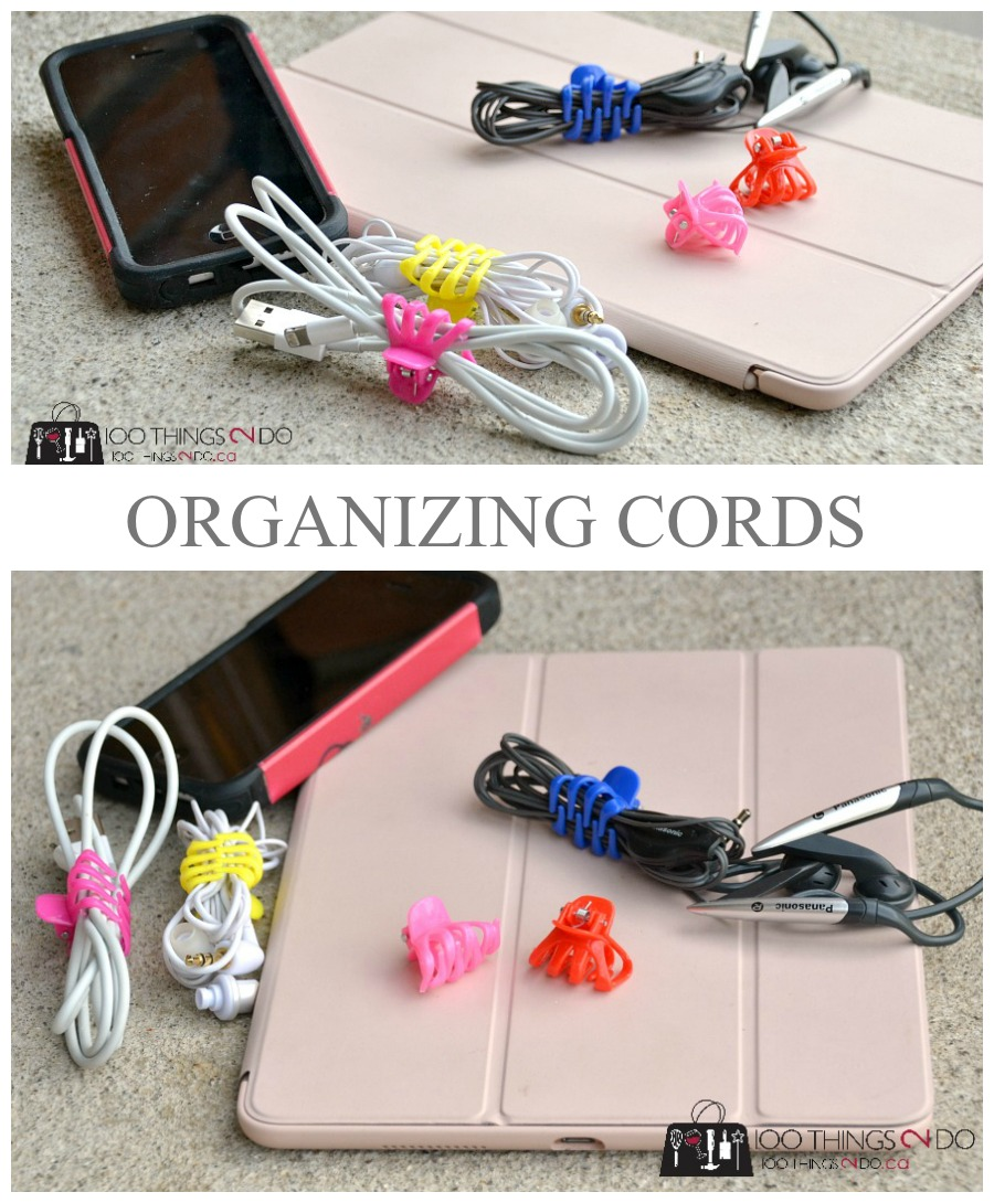 Organizing power cords, cord organization, organizing cords, cord wraps, dollar store organizing, ipad cord, iphone cord, cord storage