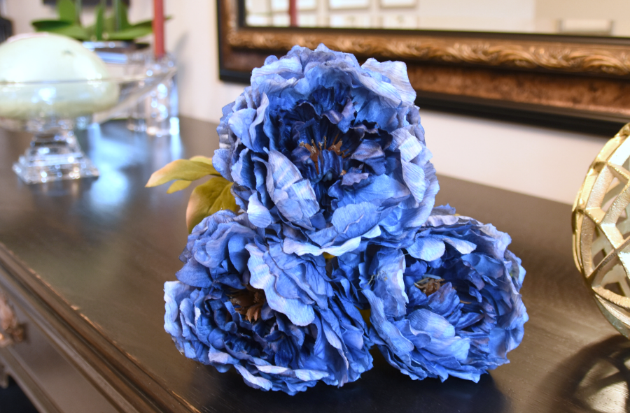 Artificial flowers, artificial greens, silk flowers, artificial flower centrepiece, centerpiece, DIY floral arrangement