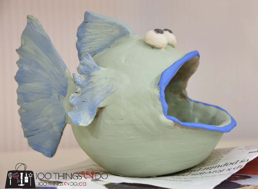 learning pottery, pinch pot, pottery fish, pinch pot fish, pinch pot candy dish