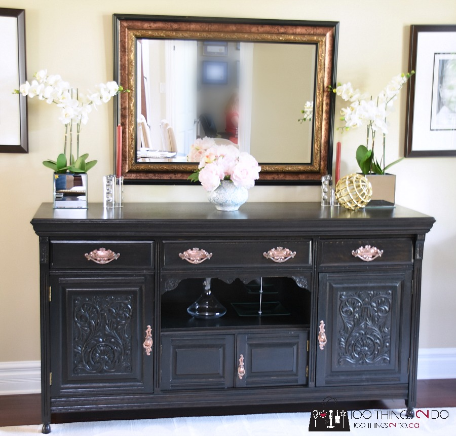 Dining room buffet, dining room sideboard, buffet makeover, sideboard makeover, my favourite paint stripper, how to strip paint from furniture, antique buffet, Smart Strip