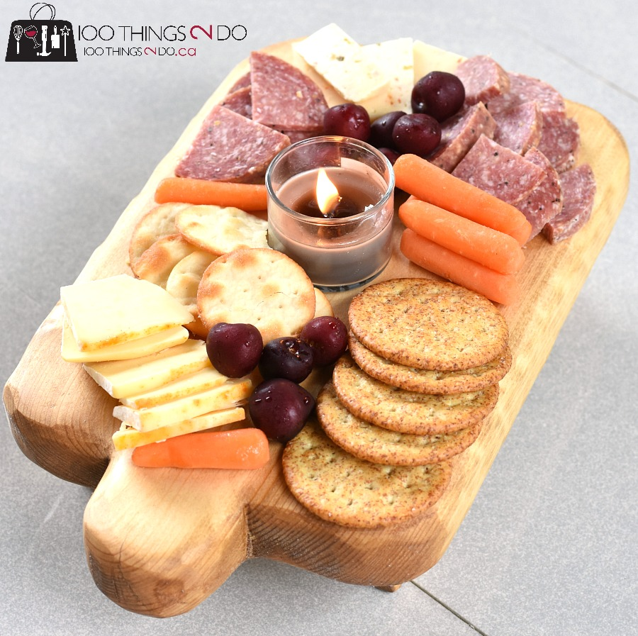 Charcuterie board, DIY charcuterie board, appetizer tray, rustic appetizer tray, Pottery Barn knock-off