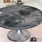 Marble coffee table, mid-century modern coffee table, round pedestal coffee table, faux marble, faux carrera marble, DIY marble table, faux marble coffee table, how to paint faux marble