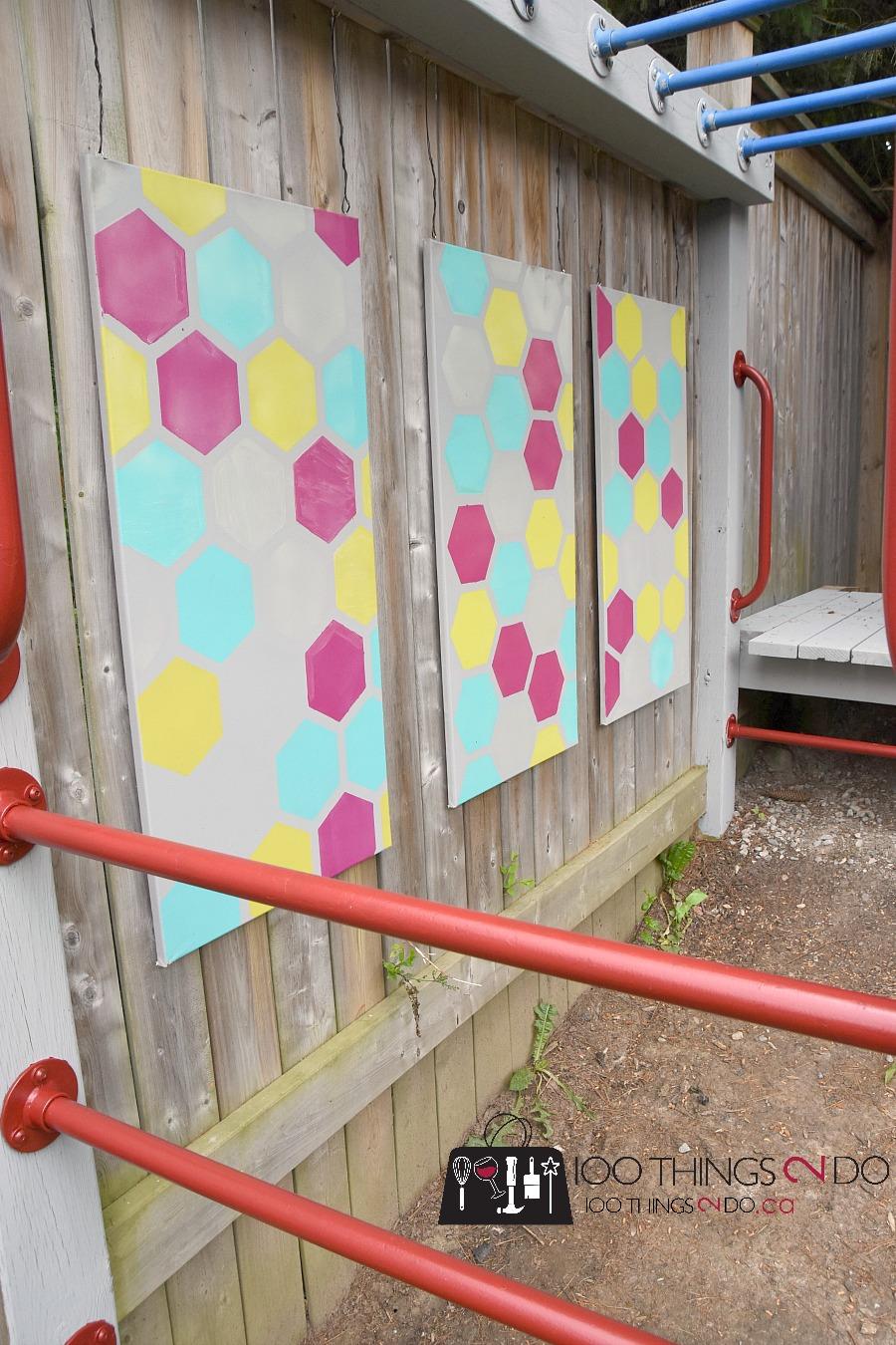 Outdoor art, outdoor decor, fence art, outdoor canvas, stencil art, playground upgrades