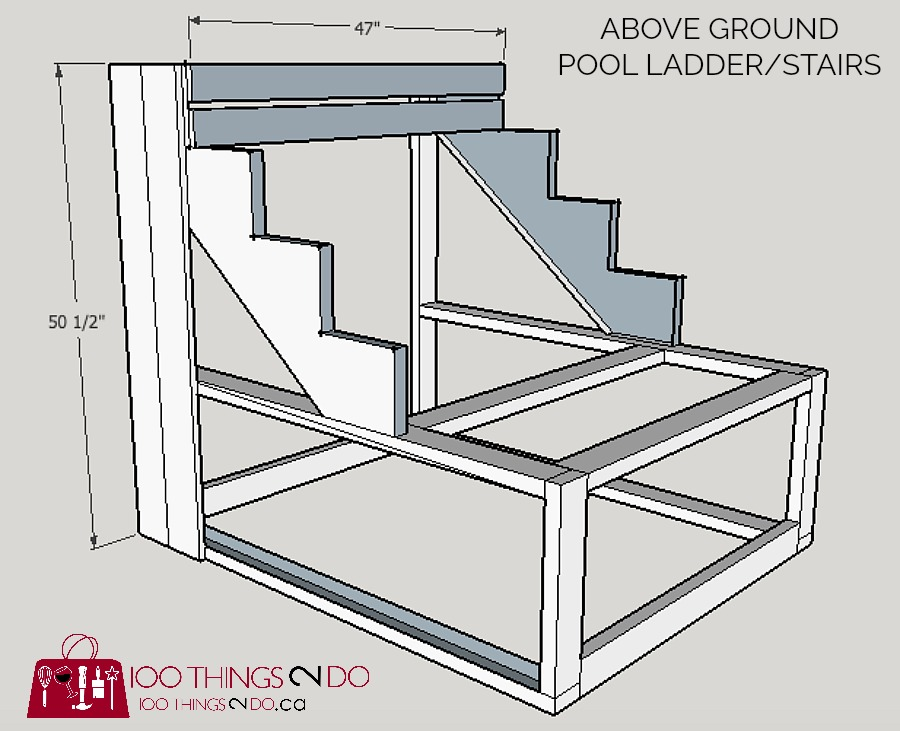 How to build above ground pool stairs, Intex pool stairs, DIY pool ladder, DIY pool stairs, pool ladder, pool stairs, building plans for pool stairs