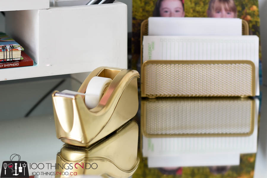 desk accessories, gold desk accessories, diy gold desk accents, office supplies, gold office supplies, accessorizing your home office