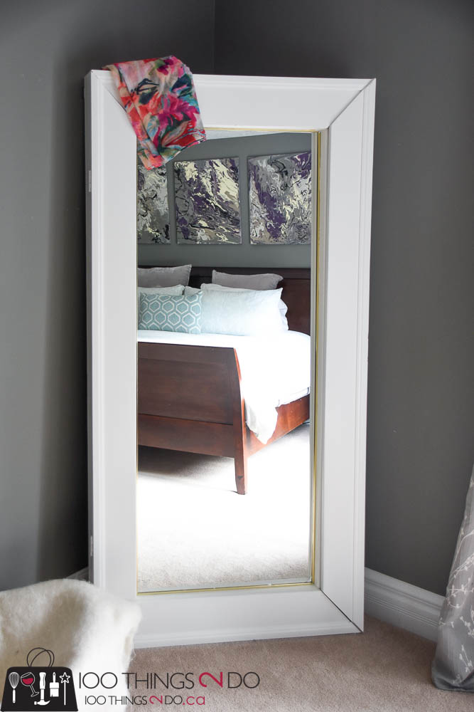 DIY Floor Mirror, floor mirror with storage, mirror with storage, mirror with cabinet, full-length mirror