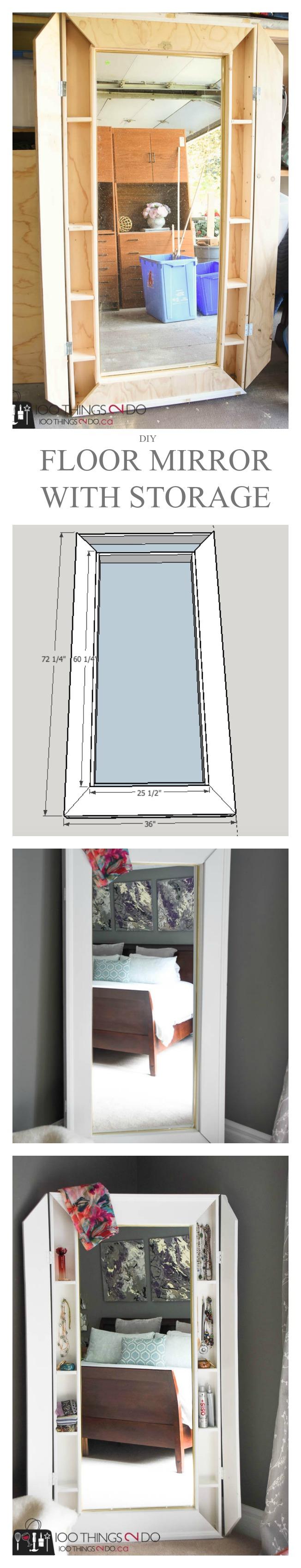 DIY Floor Mirror, Floor Mirror With Storage, Mirror With Storage, Mirror  With Cabinet