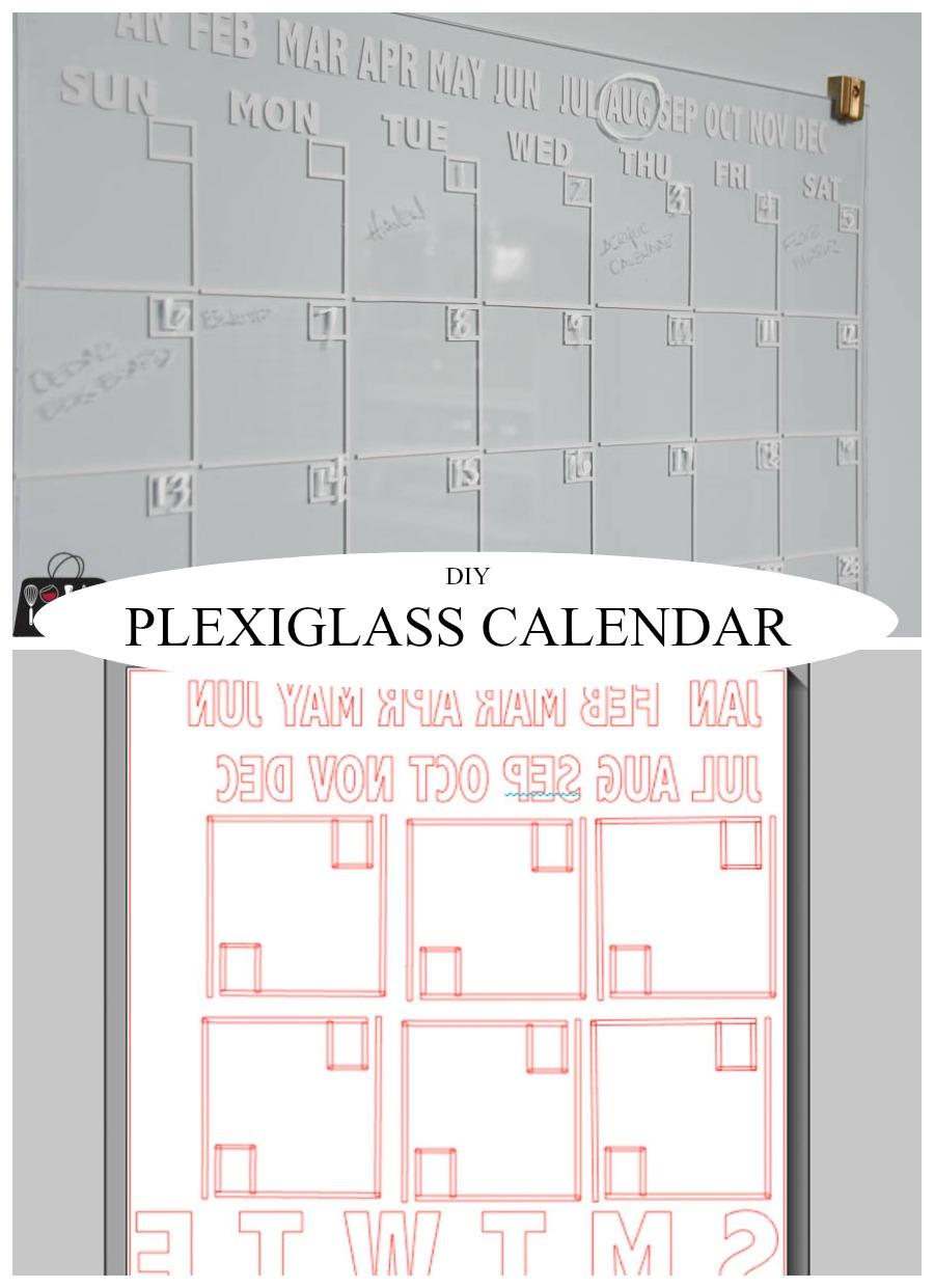 Plexiglass calendar, dry erase calendar, wall calendar, office calendar, DIY calendar