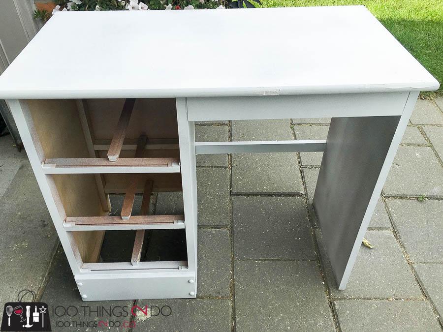Navy blue desk, desk makeover, refinished desk, student desk, kids desk, painted desk