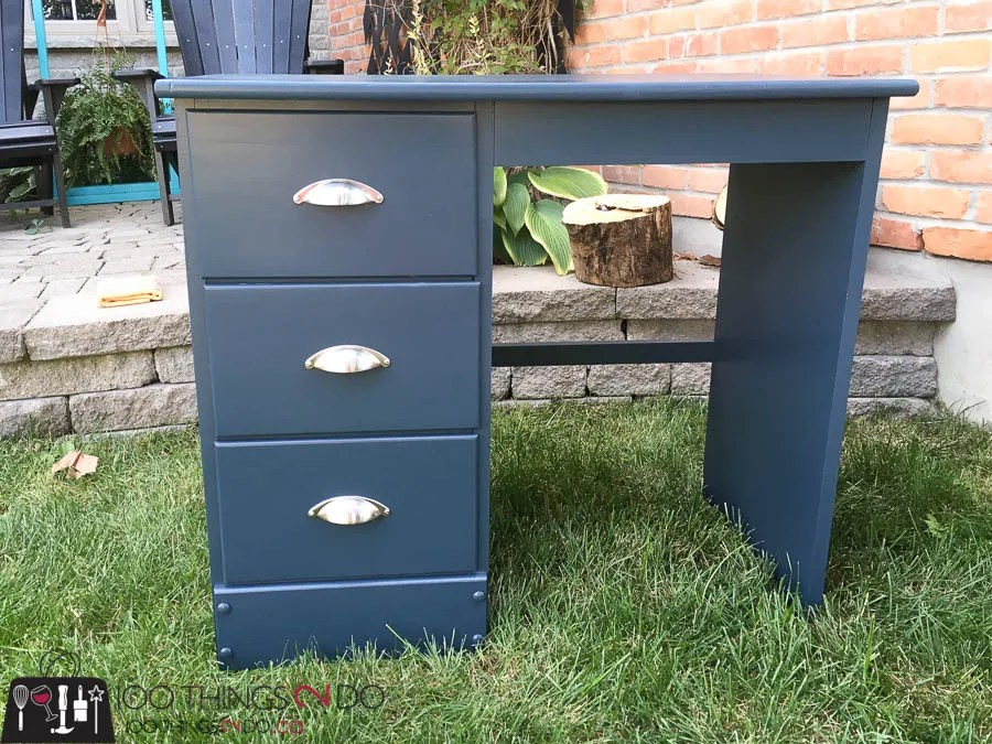 Navy blue desk, desk makeover, refinished desk, student desk, kids desk, painted desk