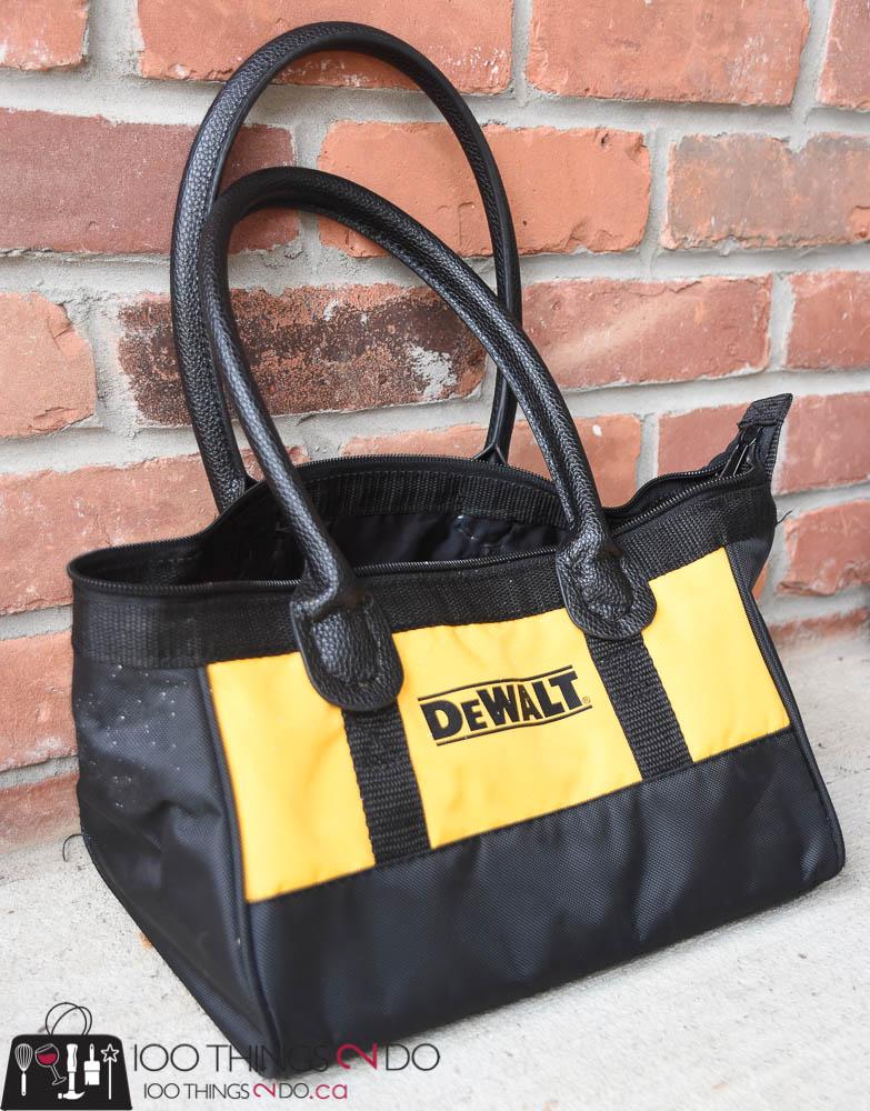 DeWalt, repurposed tool bag, tool bag, DeWalt bag, DIY purse, repurposed purse, make your own purse, DIY Diva purse
