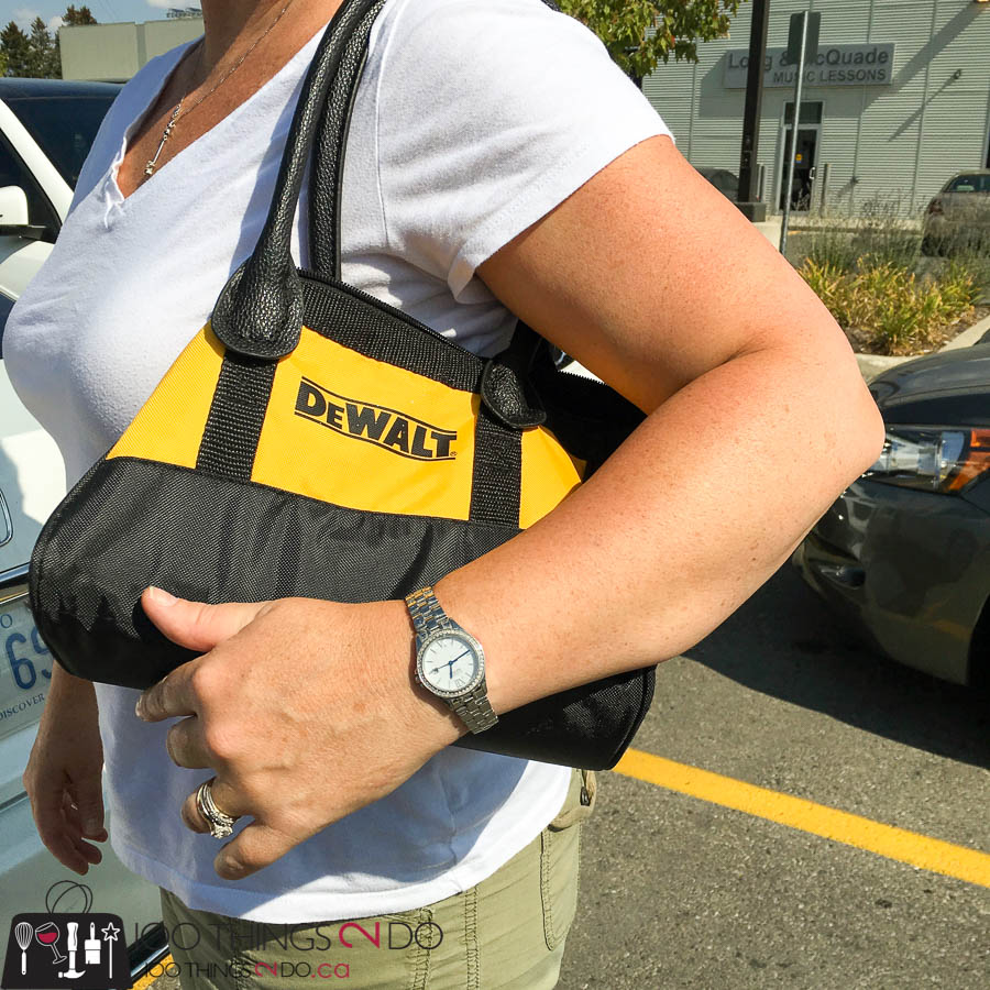 DeWalt, repurposed tool bag, tool bag, DeWalt bag, DIY purse, repurposed purse, make your own purse, DIY Diva purse