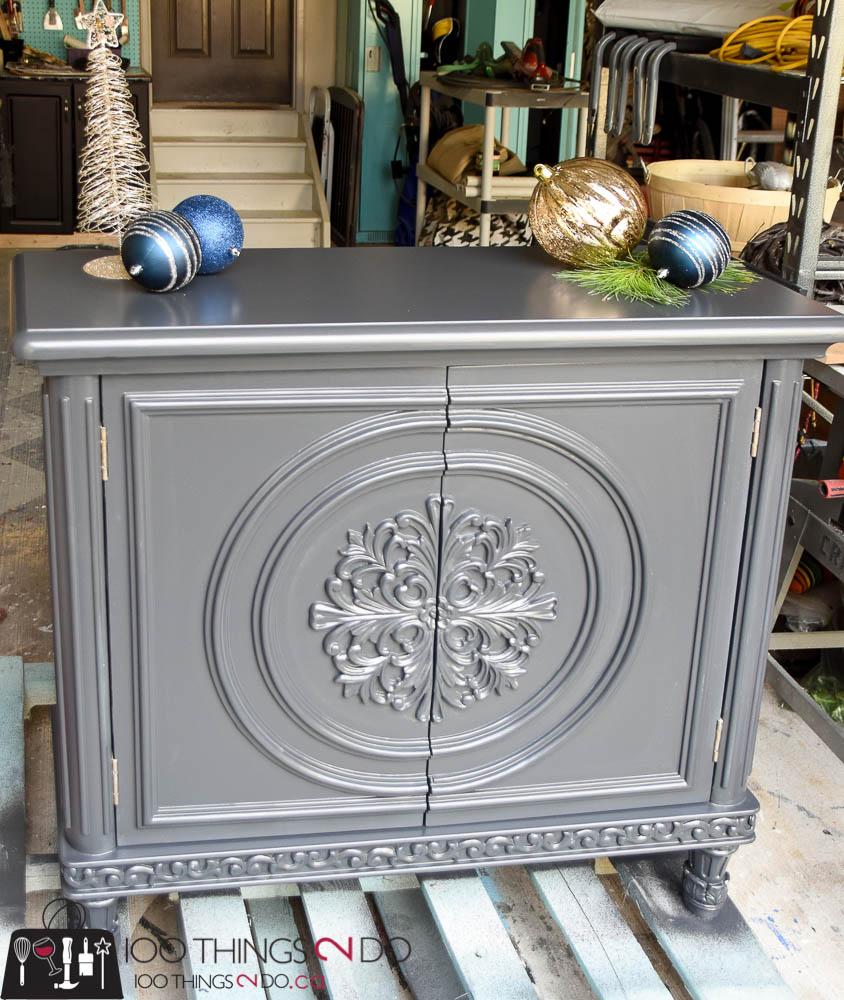 Liquor cabinet, ornate cabinet, liquor cabinet makeover, refinished liquor cabinet, black cabinet, Tracey