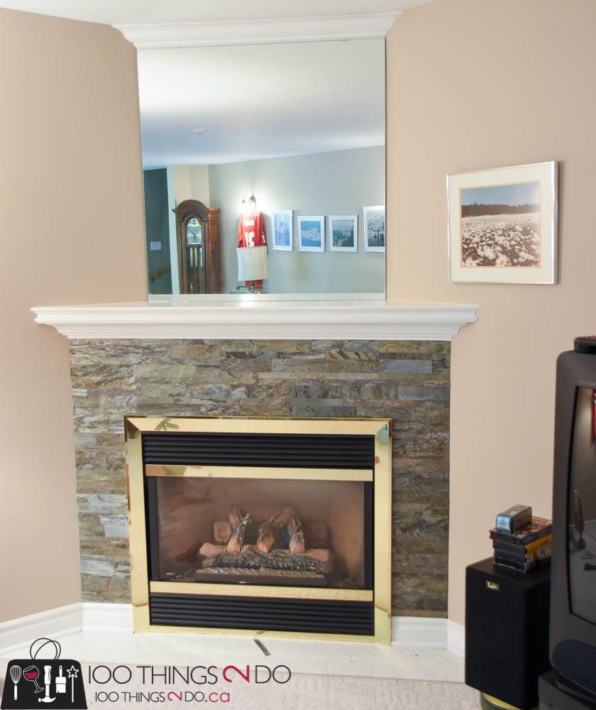Fireplace surround, Aspect Peel & Stick Tile, stone fireplace surround, stone fireplace, how to change up your fireplace, adding stone to your fireplace, DIY fireplace surround