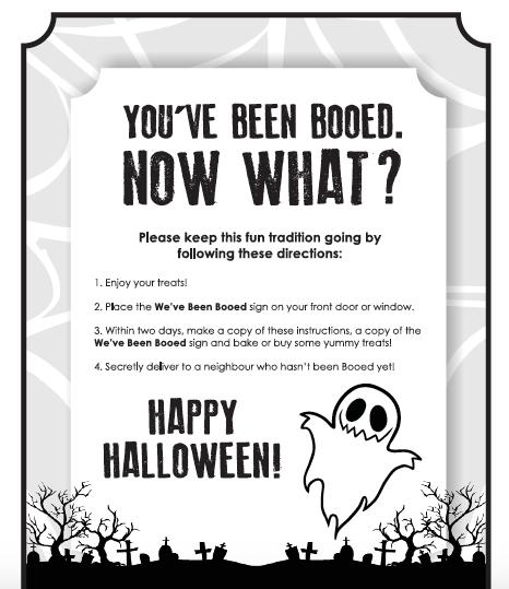 Hallowe'en fun, Hallowe'en printable, You've been boo'd, boo'd, Boo'd poem, Booing