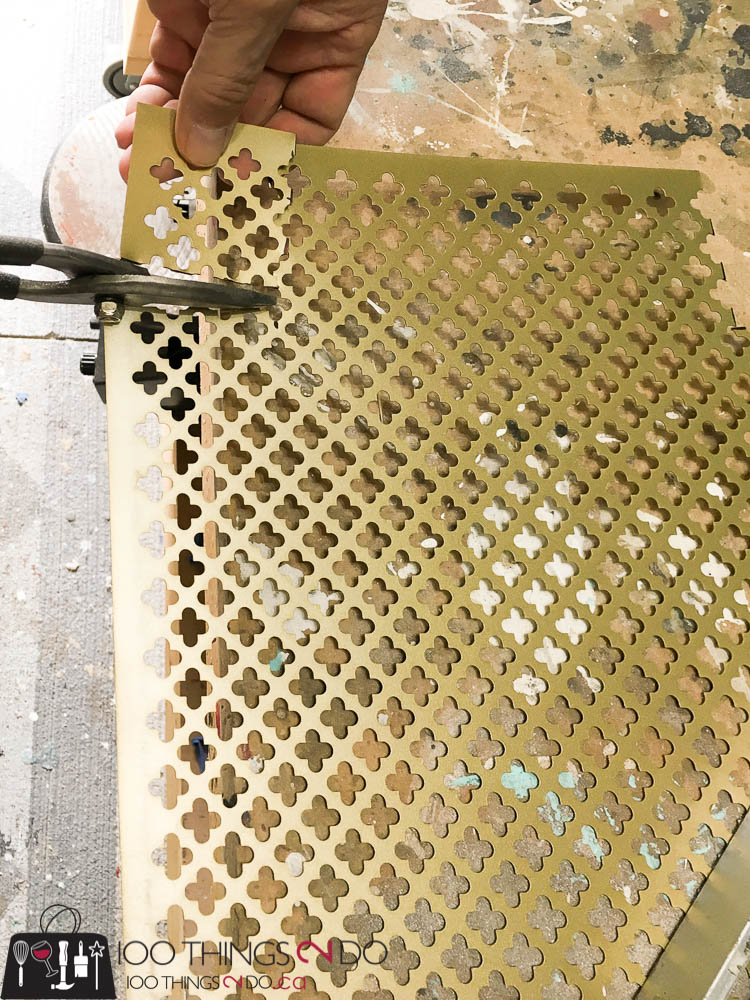 Decorative metal tray, M-D Building Products, sheet metal tray, DIY gold tray, gold tray, easy metal tray