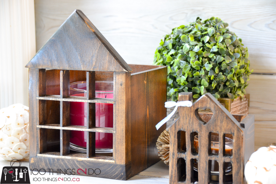 20 Simple Christmas DIYs, wooden house, candle house, Christmas DIY, Easy Christmas crafts, DIY Christmas decor