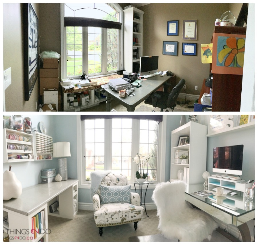 Home Office Makeover, Craft Room Makeover, Craft Room, Feminine Home Office,  Home