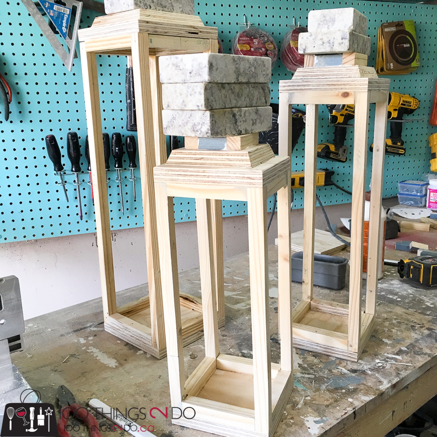 Make your own scrap wood lanterns, DIY rustic lanterns, white lanterns, Christmas lanterns, DIY wood lanterns
