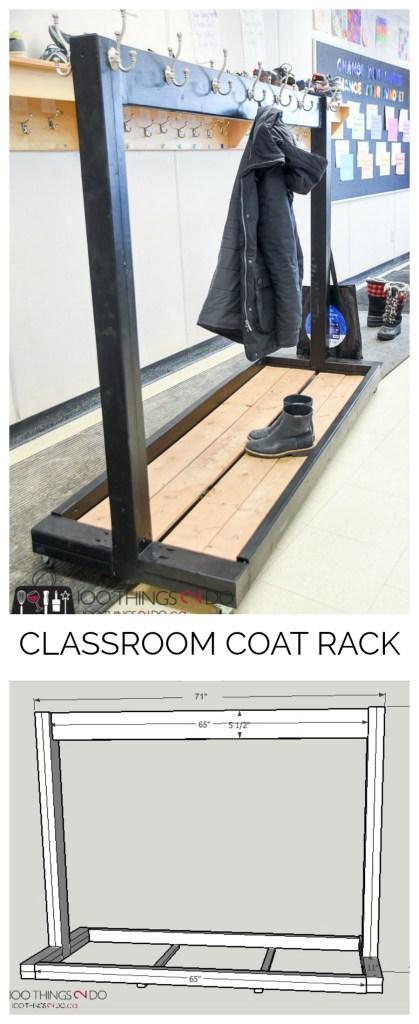 Portable coat rack, classroom coat rack, DIY coat rack for multiple coats, rolling coat rack