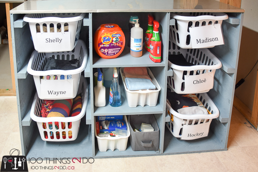 10 DIY Furniture Projects for Beginners, DIY furniture, beginner builds, easy DIY furniture, laundry sorting station, laundry folding table, laundry dresser