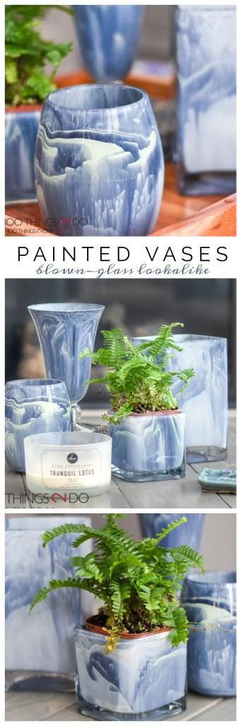 Painted vases, painted vase, marbled vase, painted glass, easy decor piece