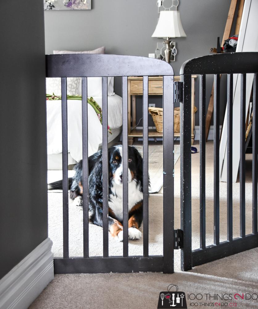 DIY pet gate, DIY pet barrier, upcycled crib to pet gate, repurposed crib