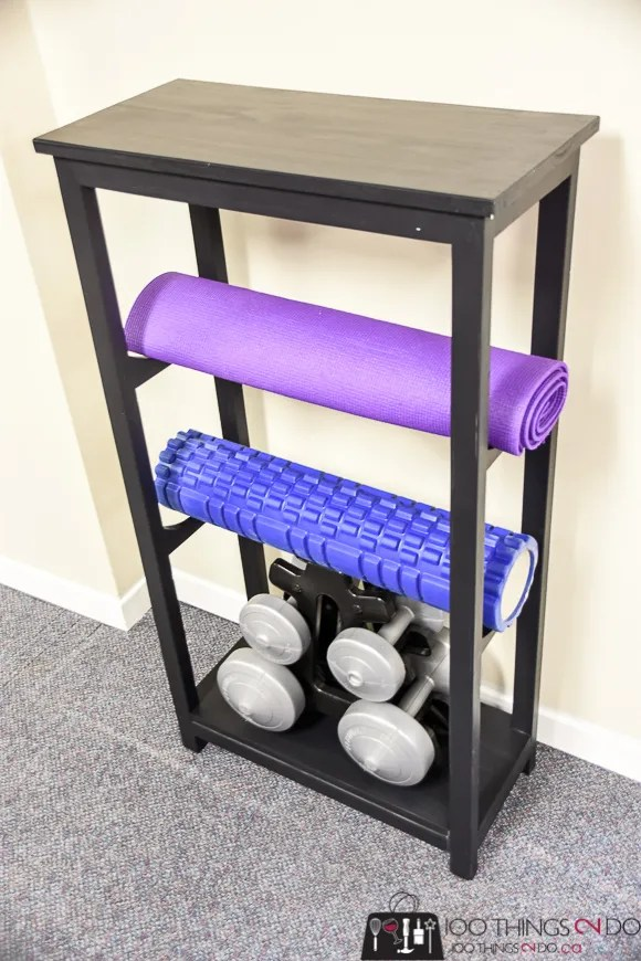 Yoga mat storage, yoga mat rack, treadmill table, home gym organization, home gym essential, gym organization