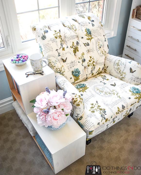 DIY side table, DIY bookshelf, small bookshelf, narrow side table, mid century modern furniture, easy build, DIY nursery decor, home office storage
