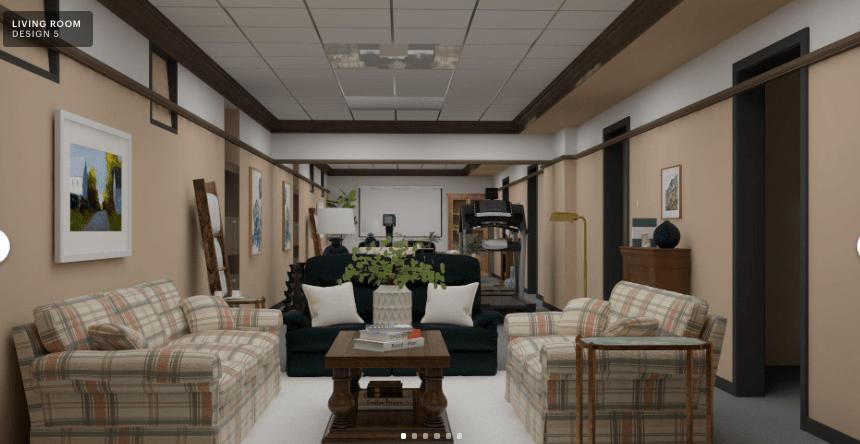 Modsy basement design, Home gym, theatre room, interior design