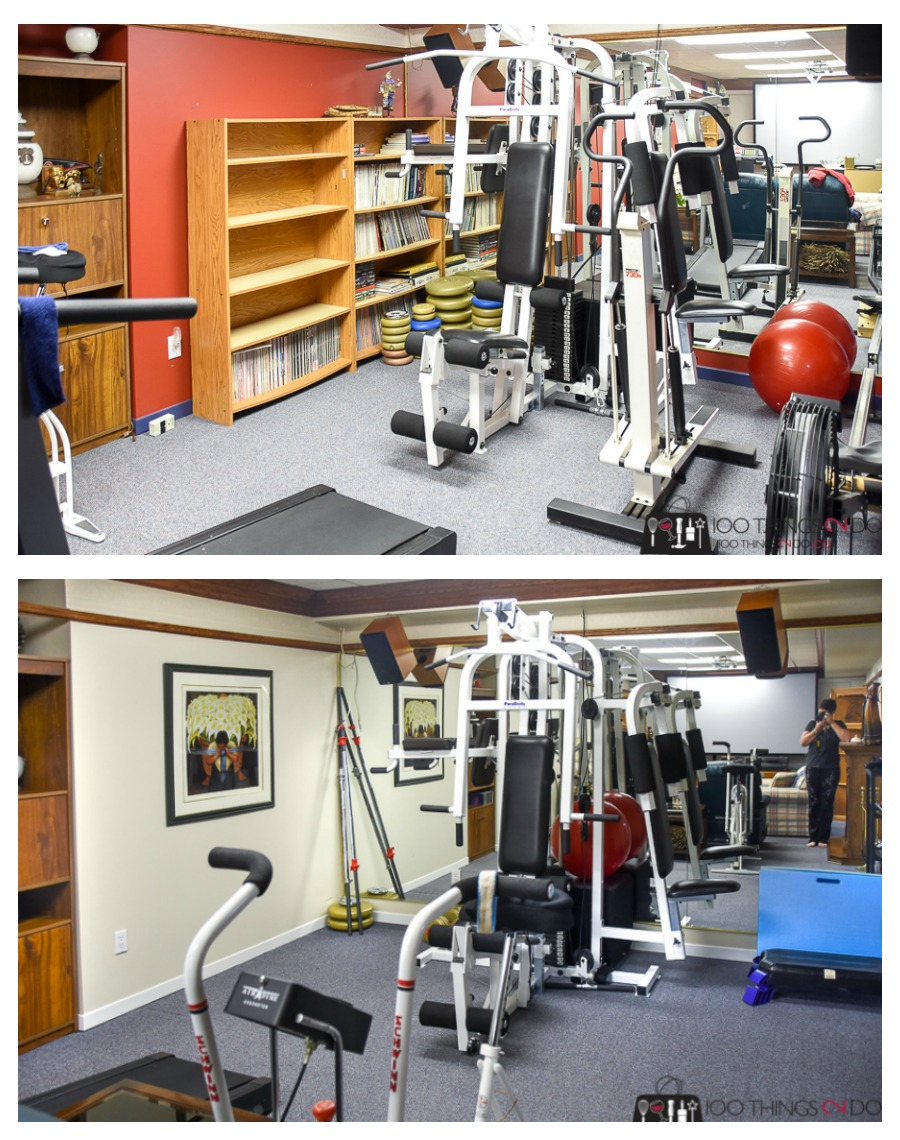 Basement makeover, Theatre room makeover, home gym makeover, home gym, basement, One Room Challenge, ORC Week 4, Benjamin Moore White Down