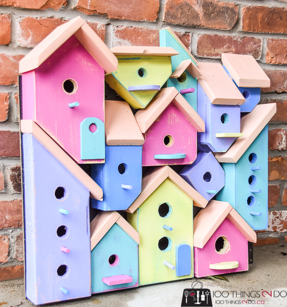 Birdhouse, birdhouses, birdhouse collage, birdhouse art, Wood Art Challenge