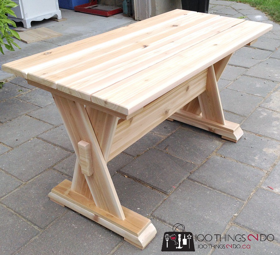 DIY patio table, cedar patio table, DIY patio furniture