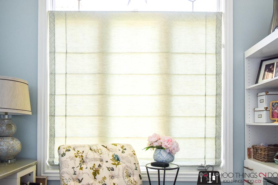 Home office, roman blinds, feminine home office, home office makeover, blue home office