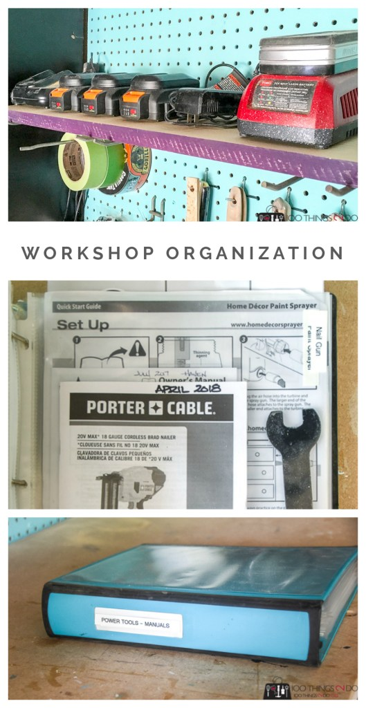 Workshop organization, manual binder, tool binder, organized workshop