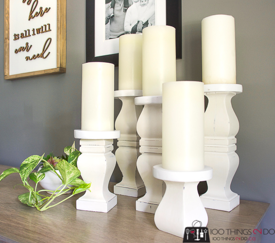 DIY candle holders, rustic candle holders, DIY candle sticks, repurposed table legs