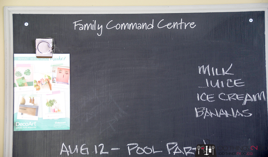 Family command centre, Free family command centre, repurposed coffee table, upcycled coffee table, chalkboard command centre