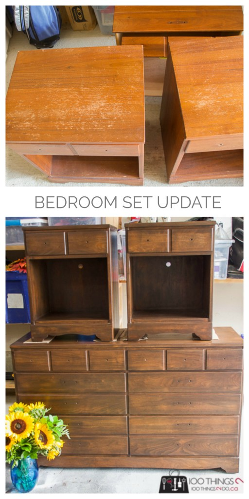 Bedroom set update, Updating a bedroom set, bedroom set makeover, nightstand makeover, refinishing bedroom furniture