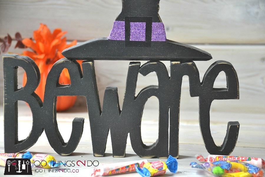 DIY Hallowe'en decor - Beware sign