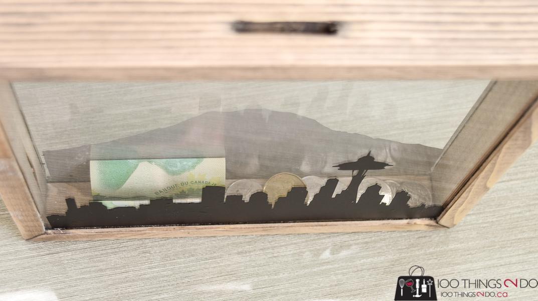 DIY coin bank, scrap wood coin bank, acrylic coin bank, wood piggy bank, rainy day fund