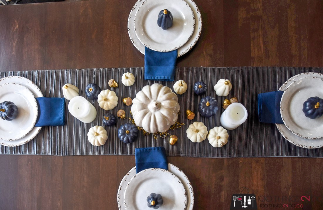 Fall tablescape, Fall centrepiece, navy and white tablescape, Dining table makeover, kitchen table makeover