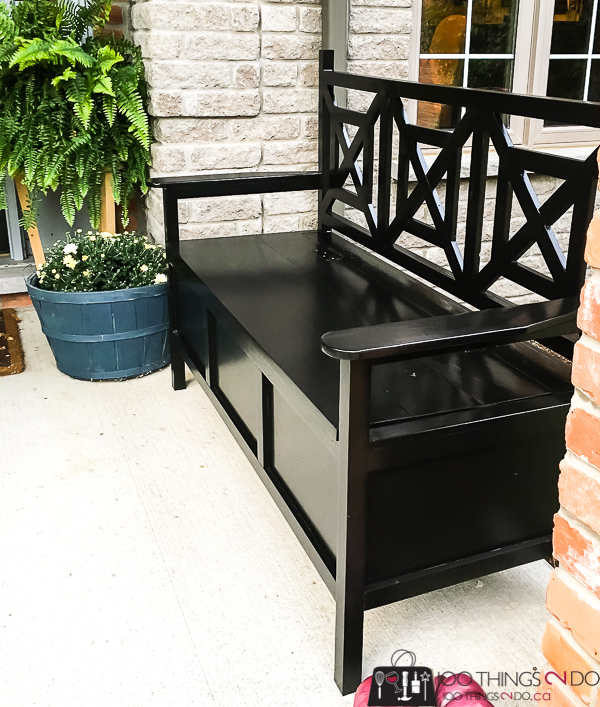Outdoor bench with storage, DIY outdoor bench, outdoor bench DIY, deacon's bench, storage bench
