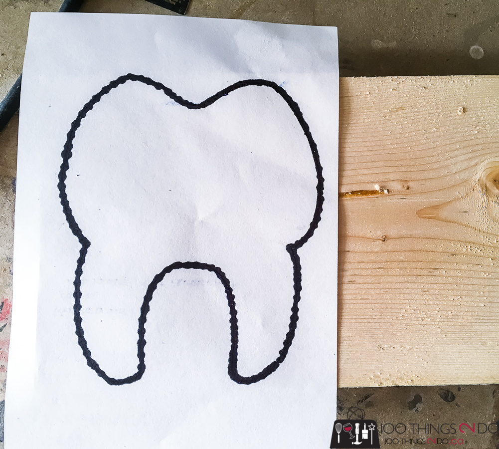 Tooth fairy box, tooth silhouette, drawing of a tooth