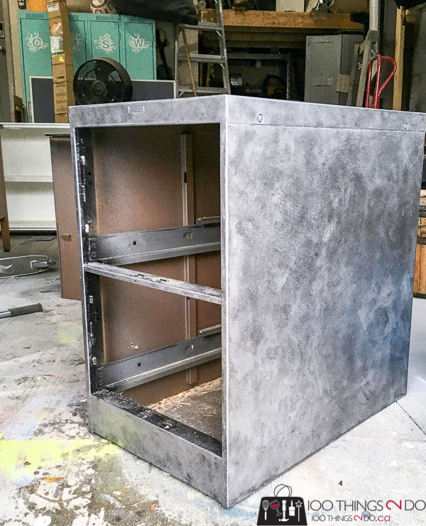 Faux zinc filing cabinet, faux zinc, filing cabinet makeover, painted filing cabinet