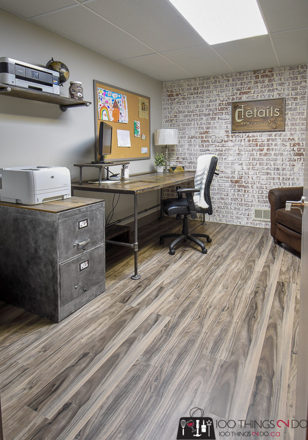 Rustic industrial office, rustic-industrial, basement office, basement home office, masculine office