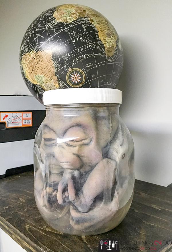 dead baby alien in a jar