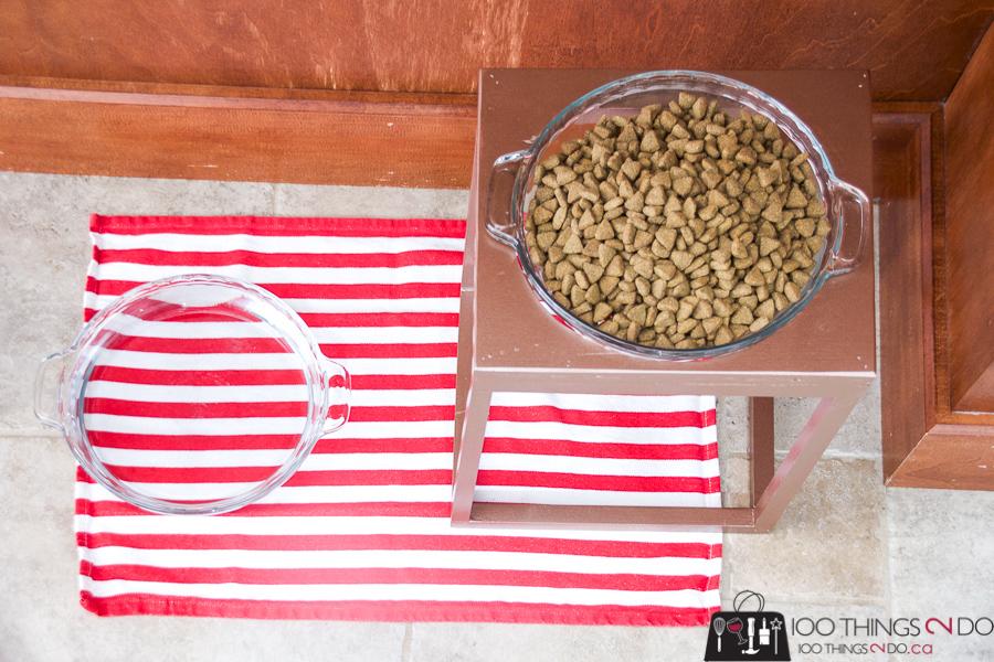 Pet food stand, raised pet food, raised pet feeder, dog bowl stand