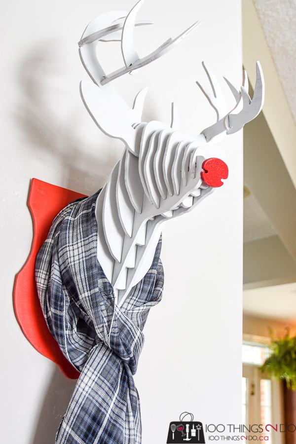 Wood reindeer, wooden reindeer, wood deer head, wood deer bust, DIY reindeer